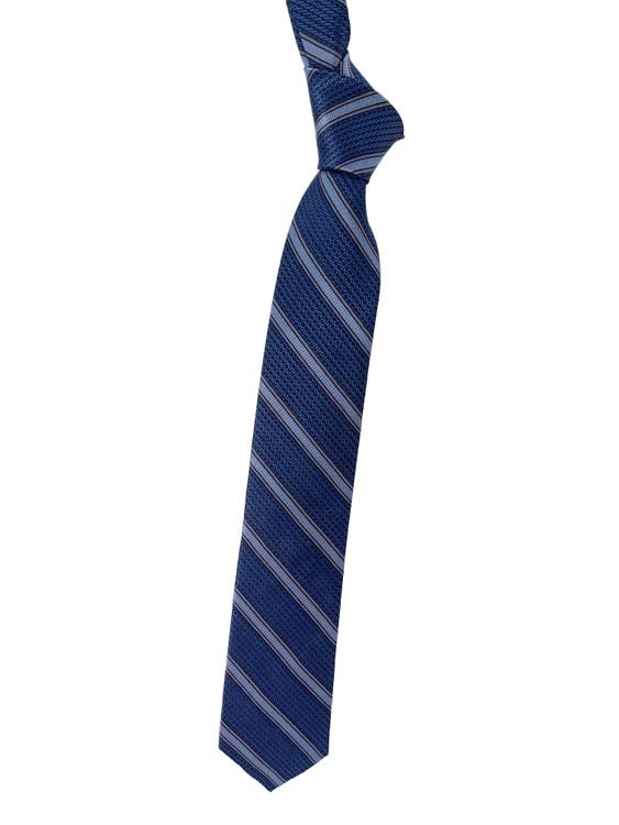 Blue, Navy and Grey Stripe Woven Silk Tie by Robert Talbott