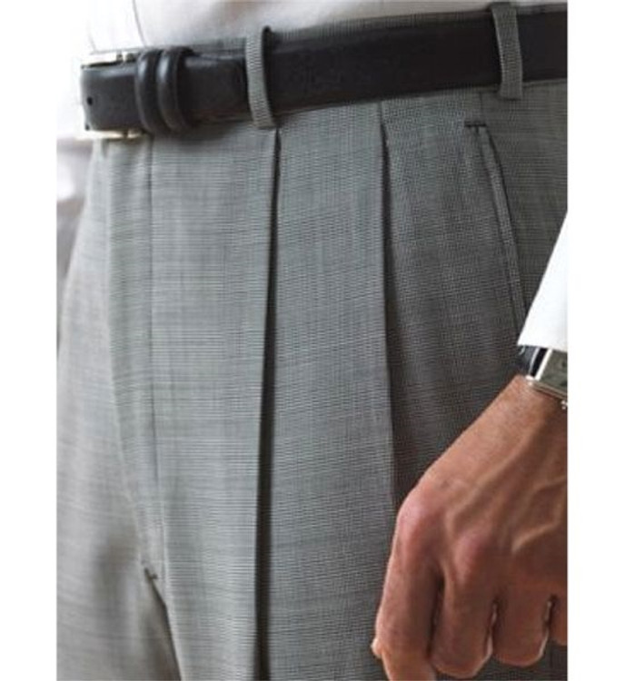 'Lanyard' Double Reverse Pleat Trousers in 120's Worsted Wool Gabardine in Gray 42x30.5 by Corbin