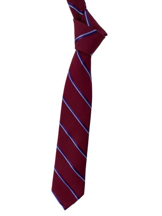 Maroon, Blue and Periwinkle Stripe Woven Silk Estate Tie by Robert Talbott