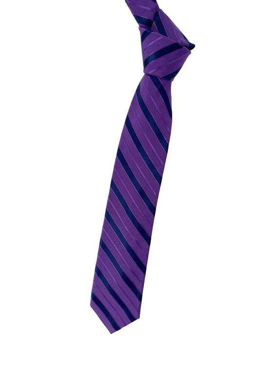 Purple and Navy Stripe Woven Silk Estate Tie by Robert Talbott