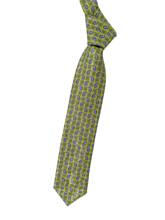 Lime, Blue and Yellow Paisley Woven Silk Estate Tie by Robert Talbott