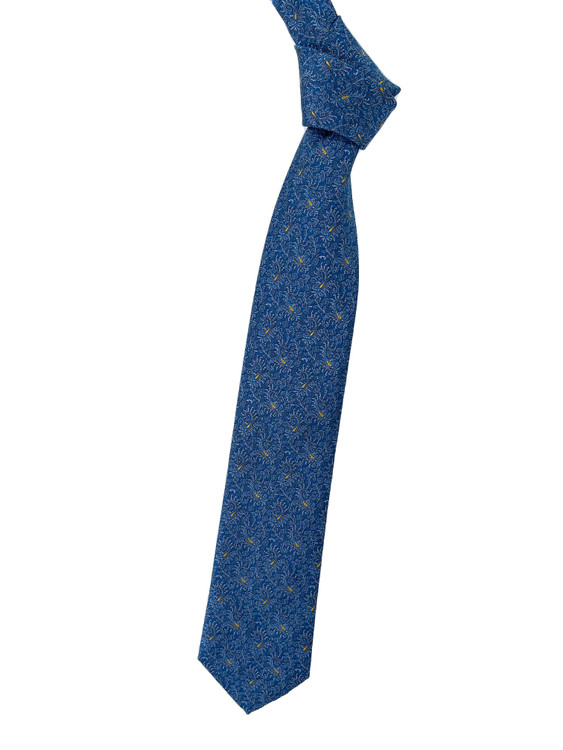 Blue, Grey and Gold Paisley Woven Silk Estate Tie by Robert Talbott