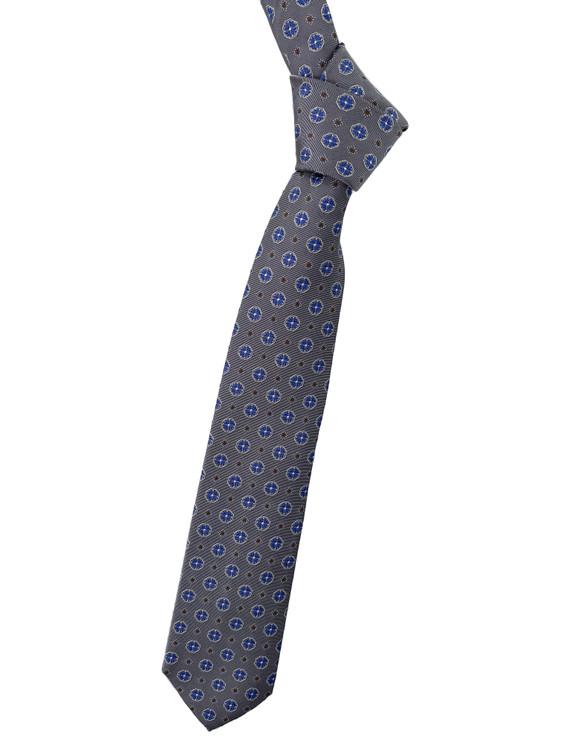Best of Class Grey, Light Blue and Brown Geometric Woven Silk Tie by Robert Talbott