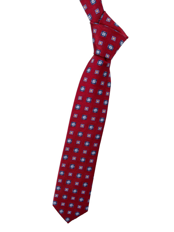 Best of Class Red, Navy, White and Yellow Geometric Woven Silk Tie by Robert Talbott