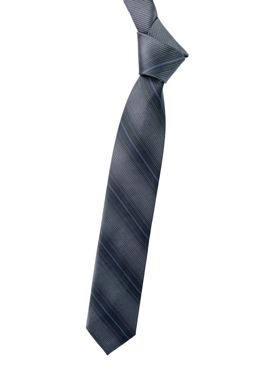 Best of Class Grey and Periwinkle Stripe Woven Tie by Robert Talbott