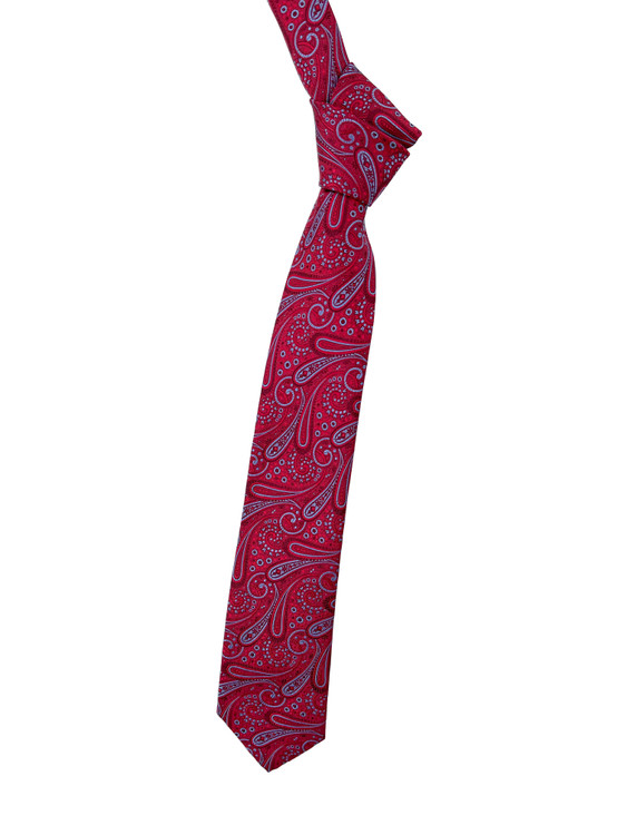 Red and Periwinkle Paisley Woven Silk Estate Tie by Robert Talbott