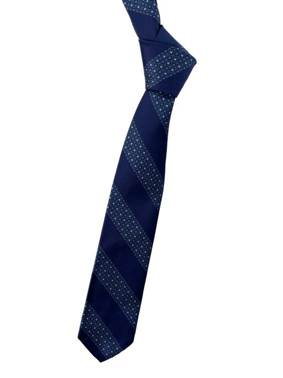 Navy, Light Blue and White Stripe Seven Fold Woven Silk Tie by Robert Talbott