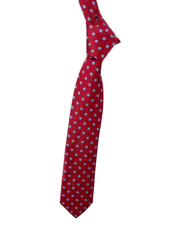 Best of Class Red and Light Blue Geometric Woven Tie by Robert Talbott