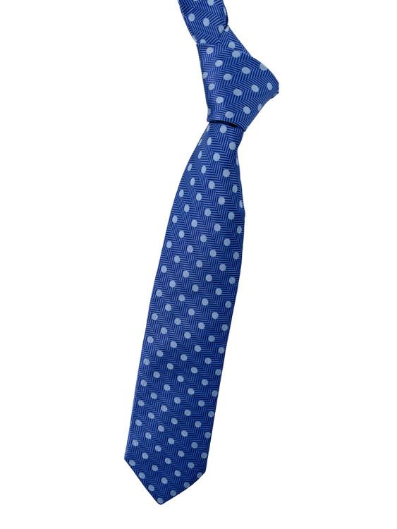Best of Class Blue, Navy and Light Blue Geometric Woven Tie by Robert Talbott