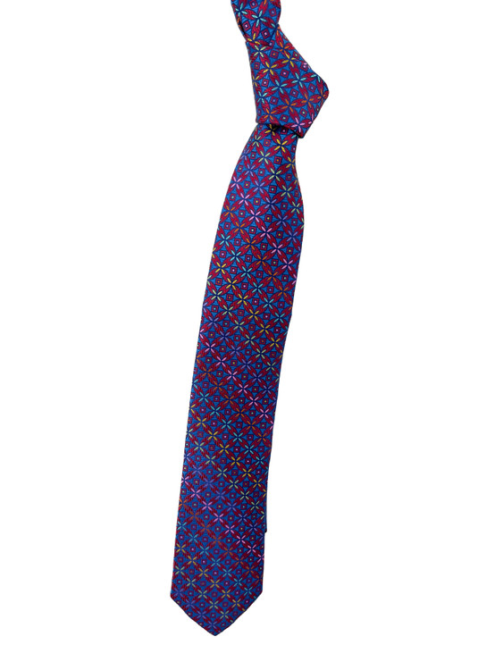 Best of Class Blue, Red, Purple and Lime Geometric Woven Tie by Robert Talbott