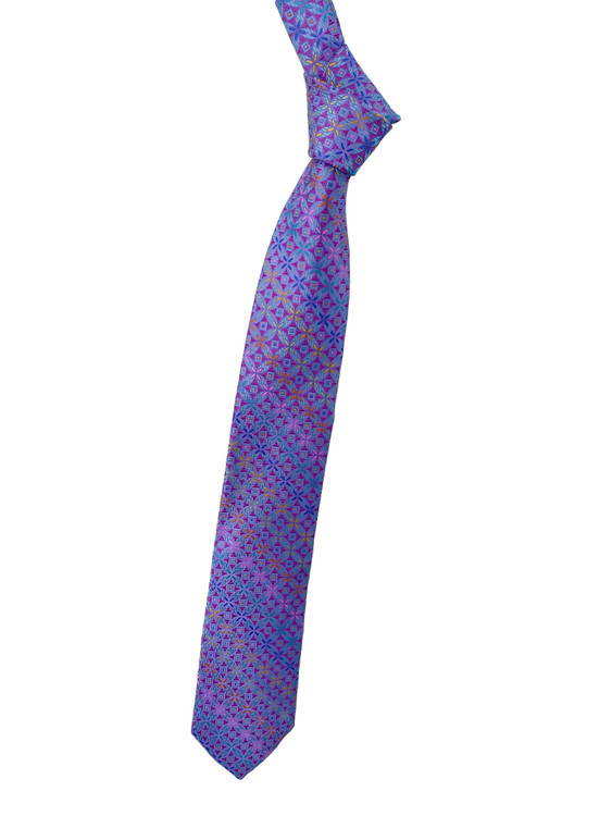 Best of Class Periwinkle, Magenta, Blue and Green Geometric Woven Tie by Robert Talbott