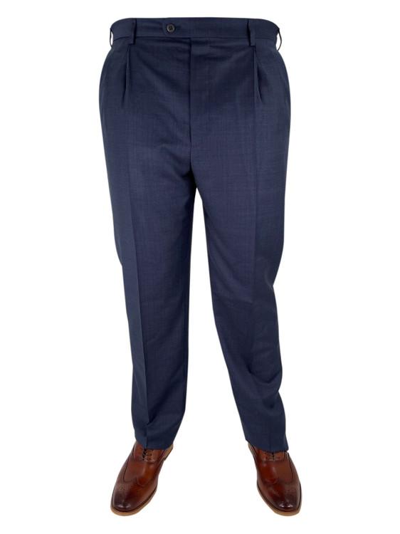 Fall 2020 Bennett Double Pleated Plaid Wool Dress Trouser in Navy by Zanella