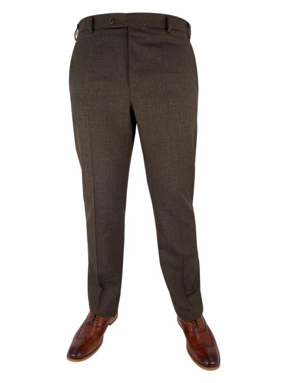 Fall 2020 Devon Flat Front Dress Trouser in Medium Brown by Zanella
