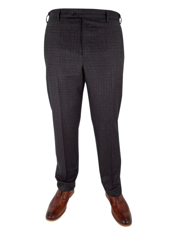 Fall 2020 Devon Plaid Flat Front Dress Trouser in Dark Brown by Zanella