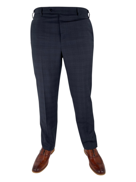 Fall 2020 Devon Plaid Flat Front Dress Trouser in Classic Blue by Zanella