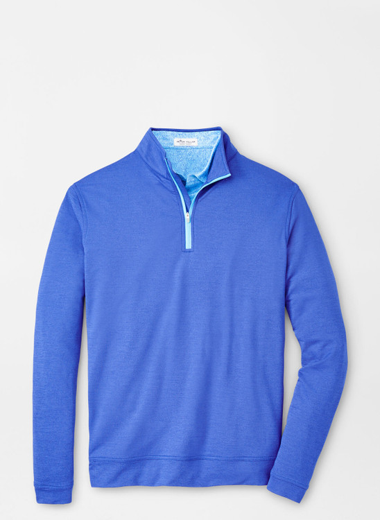 Mélange Perth Quarter-Zip Performance Pullover in Deep Ocean by Peter Millar