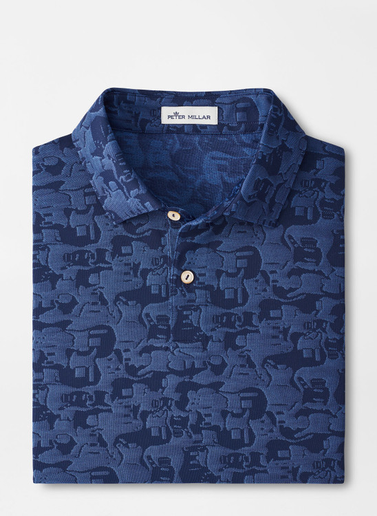 Carl Guitar Performance Jacquard Polo in Navy by Peter Millar