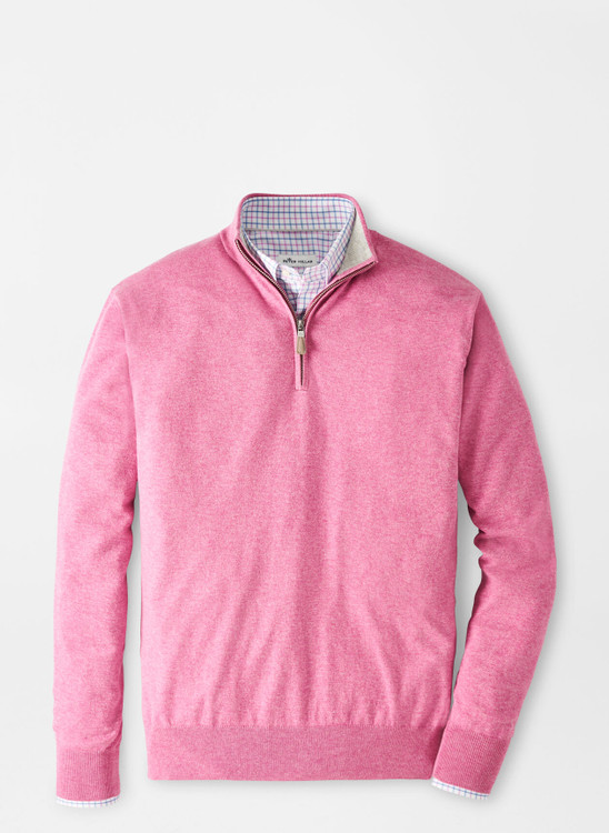 Crown Soft Quarter-Zip Sweater in Guava Pink by Peter Millar