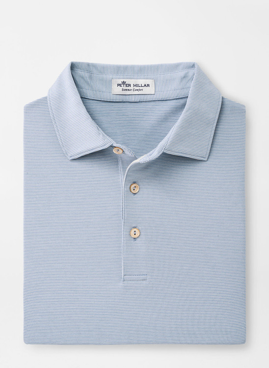 Jubilee Stripe Performance Polo in Lake Blue and British Grey by Peter Millar