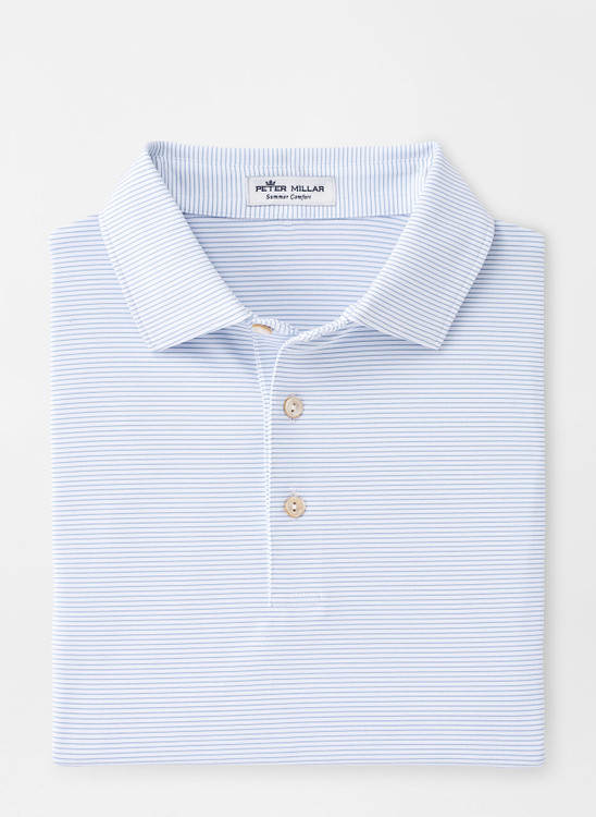 Halford Performance Jersey Polo in White and Lake Blue by Peter Millar