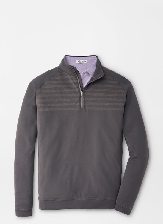 Engineered Stripe Perth Performance Pullover in Iron by Peter Millar