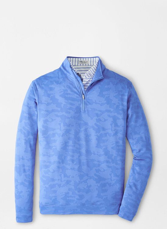Camo Jacquard Perth Performance Pullover in Blue Sea by Peter Millar