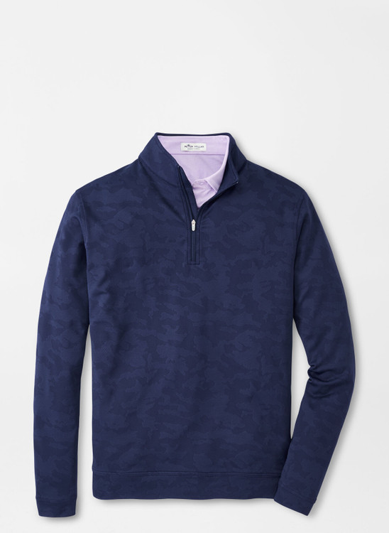 Camo Jacquard Perth Performance Pullover in Navy by Peter Millar