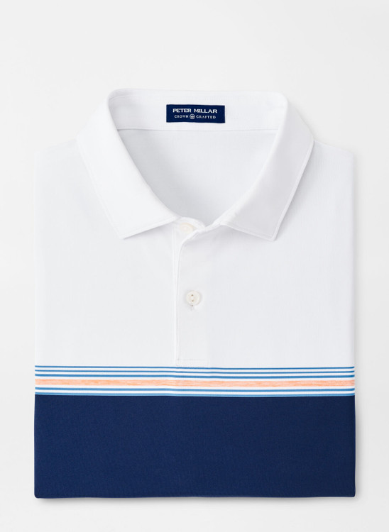 Magic Performance Jersey Polo in White and Navy by Peter Millar