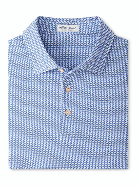 Rio Performance Polo in White and Blue by Peter Millar