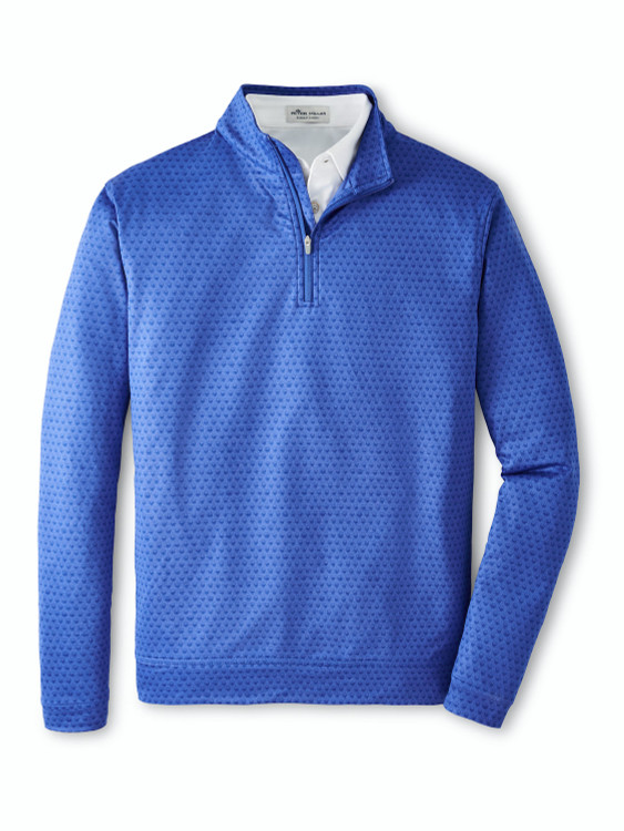 Perth Skull Performance Quarter-Zip in Deep Ocean by Peter Millar