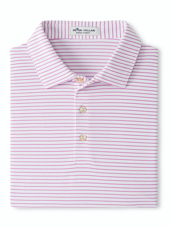 Yacht Performance Polo in White and Guava Pink  by Peter Millar