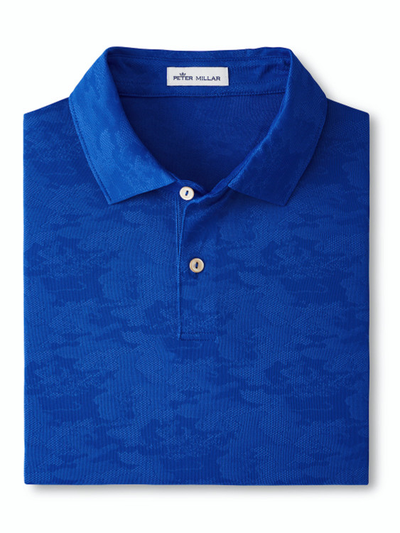 Carl Distressed Camo Performance Jacquard Polo in Deep Ocean by Peter Millar