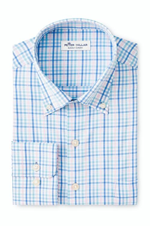 Dalton Performance Twill Sport Shirt in Blue Sea by Peter Millar