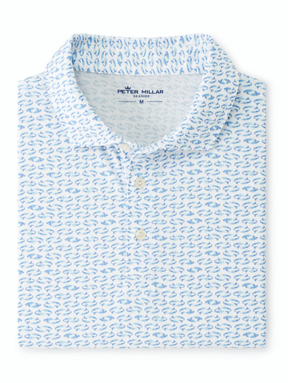 Swirling Mermaids Aqua Cotton Polo in Blue and White by Peter Millar