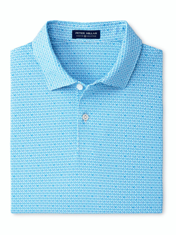 Surrey Performance Polo in Blue and White by Peter Millar