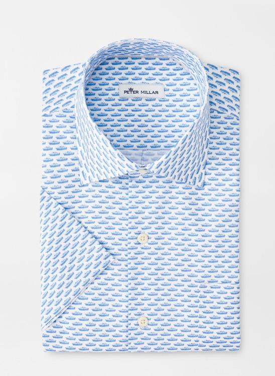 Jag Race Cotton-Blend Short-Sleeve Sport Shirt in Blue Sea by Peter Millar