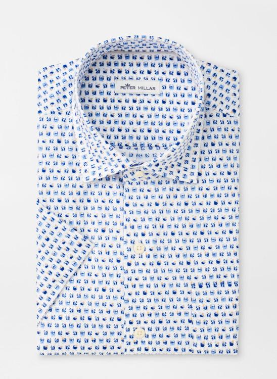 On The Rocks Cotton-Blend Short-Sleeve Sport Shirt in Deep Ocean by Peter Millar