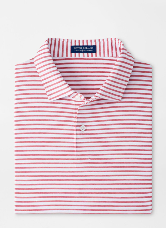 Miles Performance Jersey Polo in White and Red by Peter Millar