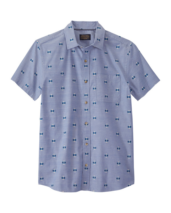 Short-Sleeve Carson Cotton Shirt in Blue Chambray by Pendleton