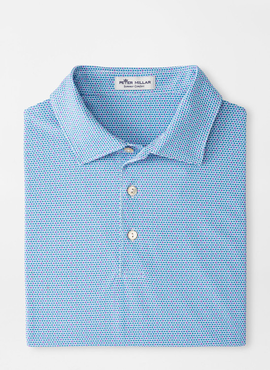 River Performance Mesh Polo in Blue, White and Pink by Peter Millar