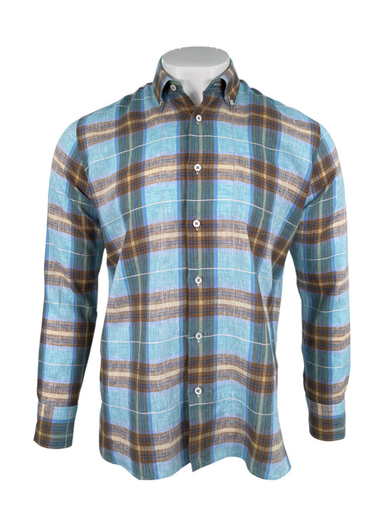 Satin Windowpane Plaid Sport Shirt in Turquoise by Calder Carmel