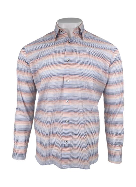 Super Fine Melange Multi Color Stripe Sport Shirt in Coral by Calder Carmel