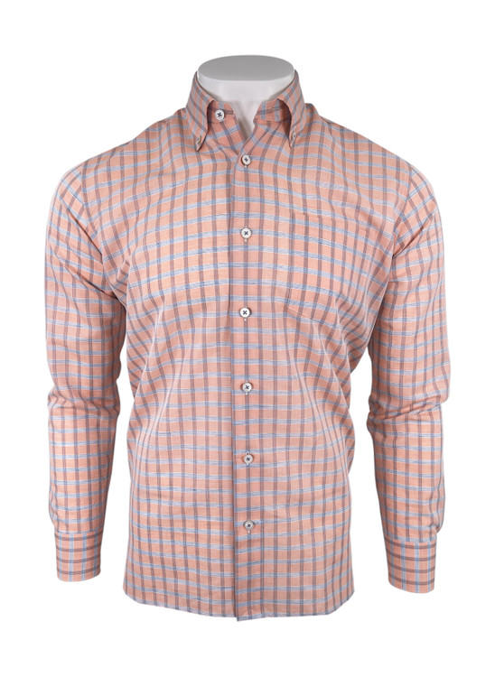 Cotton Linen Blend Check Sport Shirt in Coral by Calder Carmel