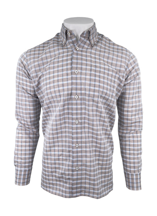 Cotton Linen Blend Check Sport Shirt in Sand by Calder Carmel
