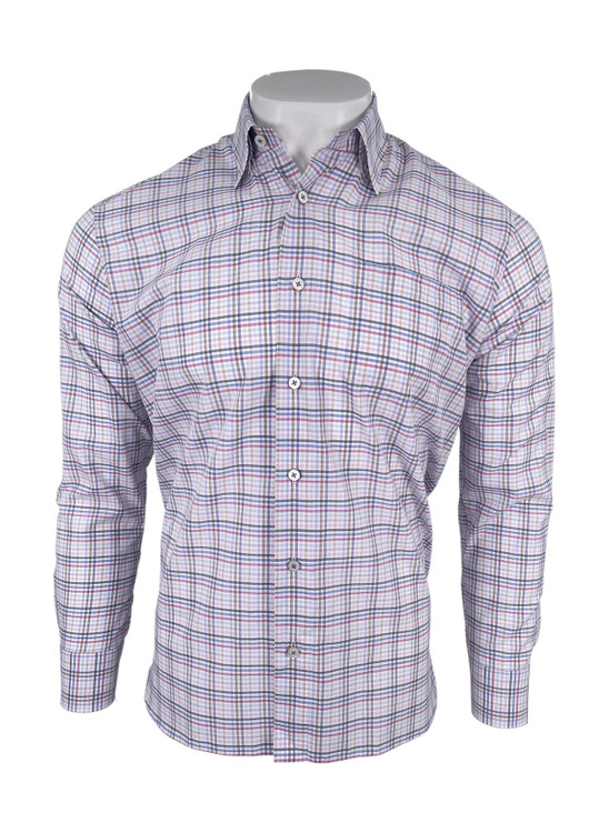 Ultimate Twill Multi Color Check Sport Shirt in Pink by Calder Carmel