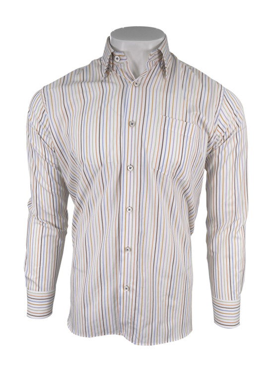 Ultimate Twill Multi Color Stripe Sport Shirt in White by Calder Carmel