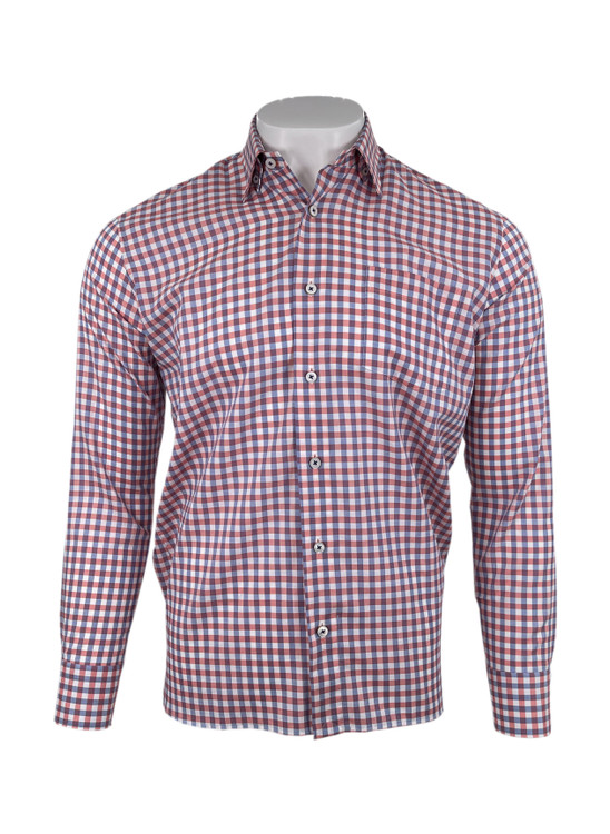 Melange Yarn Twill Gingham Check Sport Shirt in Lava by Calder Carmel