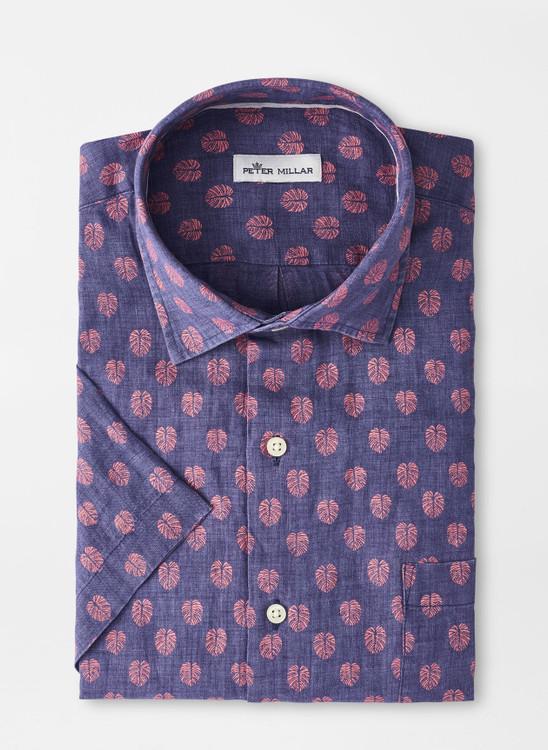 Best Fronds Linen Short-Sleeve Sport Shirt in Atlantic Blue by Peter Millar