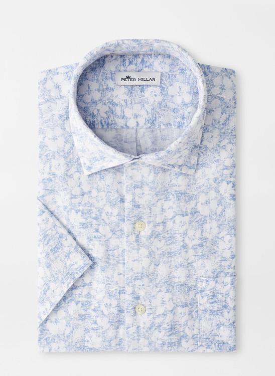 Floral Aura Linen Short-Sleeve Sport Shirt in White by Peter Millar