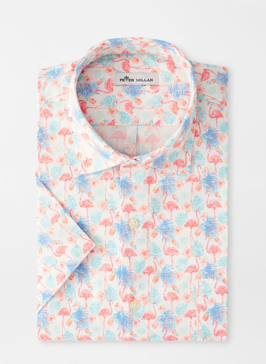 Paradise Cotton-Blend Sport Shirt in Bayside Blue by Peter Millar
